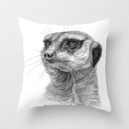 Meerkat-portrait G035 Throw Pillow