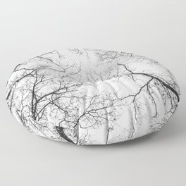 Black branches, white sky Floor Pillow