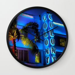 Blue Midnight - South Beach Colony Hotel landscape by Jeanpaul Ferro Wall Clock