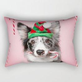Australian Shepherd Christmas New Years hat white gray dog pets aussies dogs Rectangular Pillow