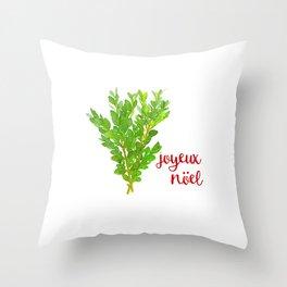 Joyeux  Nöel Christmas Boxwood Throw Pillow