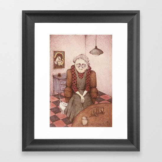 Old Woman and Cat Framed Art Print