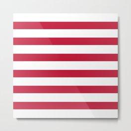 Strawberry Red Stripes on White Metal Print