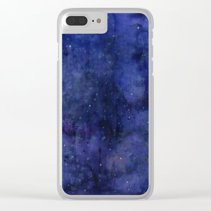 Galaxy Watercolor Nebula Texture Night Sky Stars Clear iPhone Case