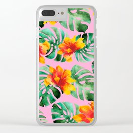 Tropical Monstera Bloom Clear iPhone Case