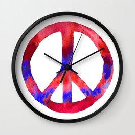 Patriotic Peace Sign Tie Dye Watercolor Wall Clock