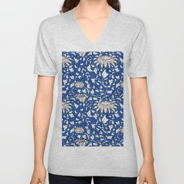 Chinoiserie Vines in White + Navy Blue Unisex V-Neck