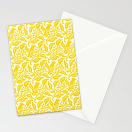 Bird and Berries Pattern Yellow Stationery Cards