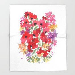 Little Red Poppy Patch Throw Blanket