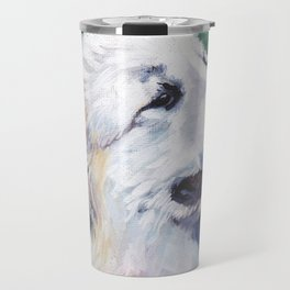 Great Pyrenees dog portrait art from an original painting by L.A.Shepard Travel Mug