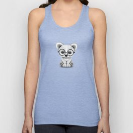 Cute Polar Bear Cub with Eye Glasses on Teal Blue Unisex Tank Top