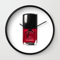 nail polish Wall Clocks featuring Nail Polish Rouge Rubis by BeckiBoos