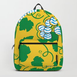Colorful stylish drawing of grapes with grape leaves on yellow background Backpack