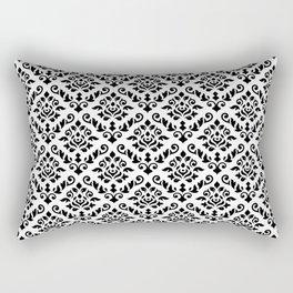 Damask Baroque Repeat Pattern Black on White Rectangular Pillow