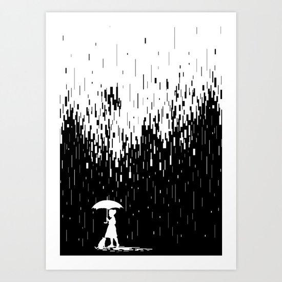 Pixel Rain Art Print