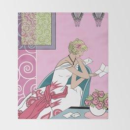 CLARICE: Art Deco Lady - Parisian Pink Throw Blanket