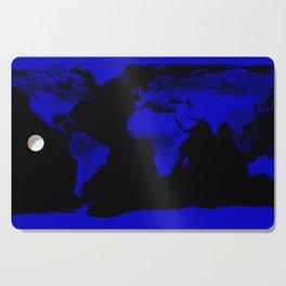 worlD Map Blue & Black Cutting Board