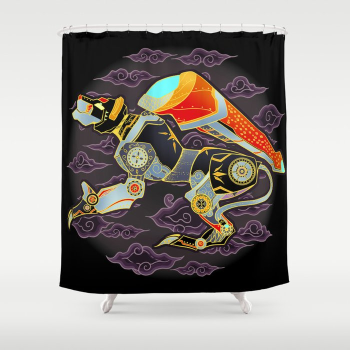 Black Lion Batik Shower Curtain By Bloomejasmine