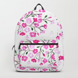 Pink Cherry Blossoms Hand Painted Backpack