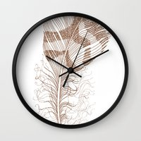 feather Wall Clocks featuring The Solitary Feather by Sandra Ireland