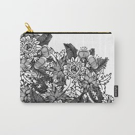 Black and White Flower Pattern 1 Carry-All Pouch