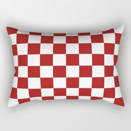 Cranberry Red and White Checkerboard Pattern Rectangular Pillow