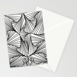 Black And White 3D Line Illusion Drawing Geometric Pattern Stationery Cards