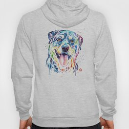 Rottweiler Pet Portrait Colourful Watercolor Painting Hoody