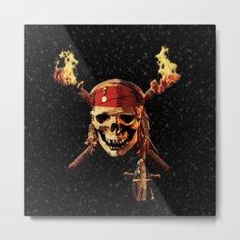 Fire Skull Of Pirates Metal Print