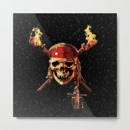 Fire Skull Of Pirates Metal Print