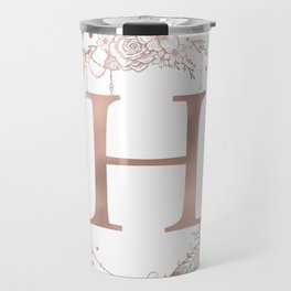 Letter H Rose Gold Pink Initial Monogram Travel Mug
