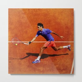 Roger Federer Tennis Chip Return Metal Print