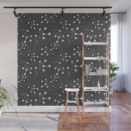 Baby's Breath Flower Pattern - Black Wall Mural
