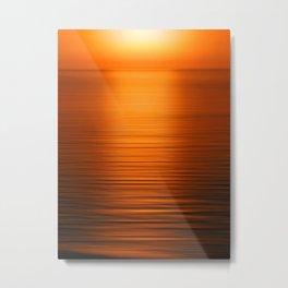 Sunset on the Water-Deep Orange Metal Print