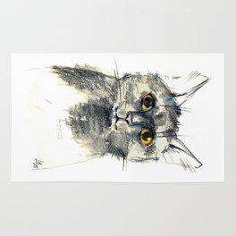 Pencil sketch of the black cat Rug