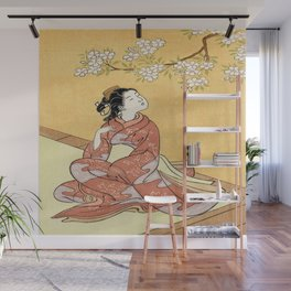 Woman & Cherry Blossoms #2 Wall Mural