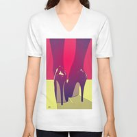 shoes V-neck T-shirts featuring Shoes by Giuseppe Cristiano