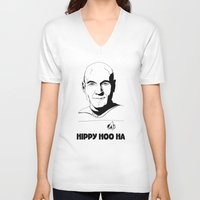 picard V-neck T-shirts featuring Jean-Luc Picard by Hippy Hoo Ha