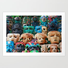 The Masks of Chichen Itza Art Print