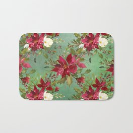 Burgundy red forest green white watercolor Christmas flowers Bath Mat