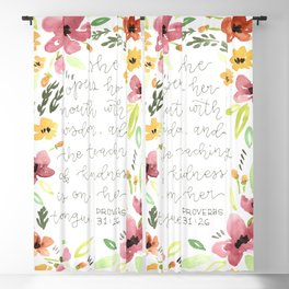 watercolor flowers Bible verse // proverbs 31 woman Blackout Curtain