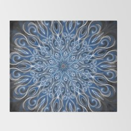 white skull swirl mandala Throw Blanket
