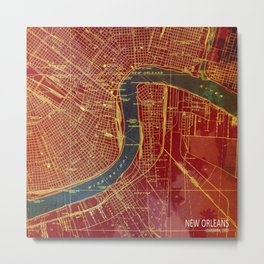 09-New Orleans Louisiana 1932, red and blue old map Metal Print