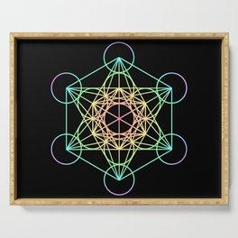 Metatron's Cube- Rainbow on Black Serving Tray