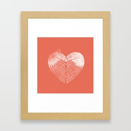 Love birds sitting on a tree Framed Art Print