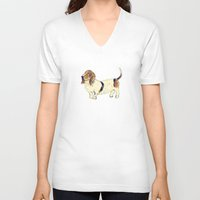 the hound V-neck T-shirts featuring Basset Hound by Rebecca Mcmillan
