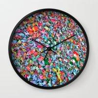 blanket Wall Clocks featuring Autumn Blanket by Angela Pesic