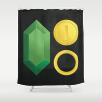 video game Shower Curtains featuring Video Game Money - Zelda, Mario, Sonic by The Potion Shop
