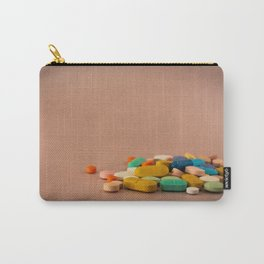 Colored medicines on a neutral pink background Carry-All Pouch