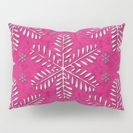 DP044-7 Silver snowflakes on pink Pillow Sham